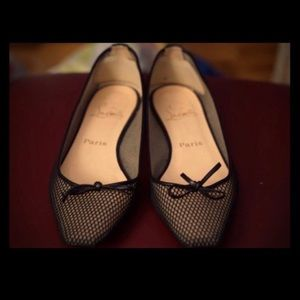 Shoes - Christian Louboutin Black/Nude Mesh Flats 38.5